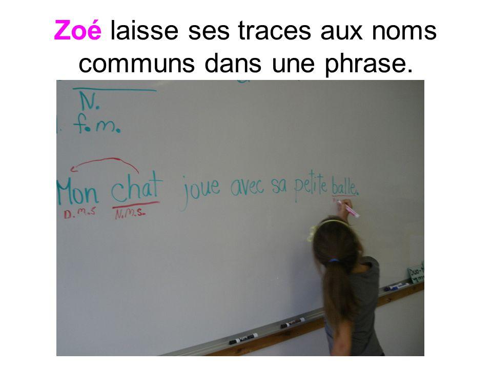 Zoé laisse ses traces aux noms communs dans une phrase.