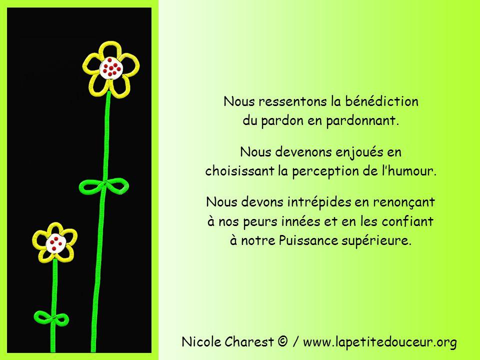 Nicole Charest © / www.lapetitedouceur.org Nous ressentons la bénédiction du pardon en pardonnant.