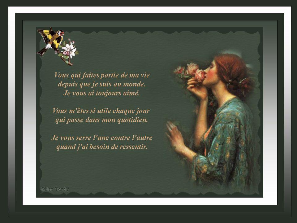Mes mains © copyright Auteur Clara www.perso.orange.fe/lestextesdeclara Bonne Journée Musique Roger Williams An affair to remember Création Lise Tardif (Nov.2006)