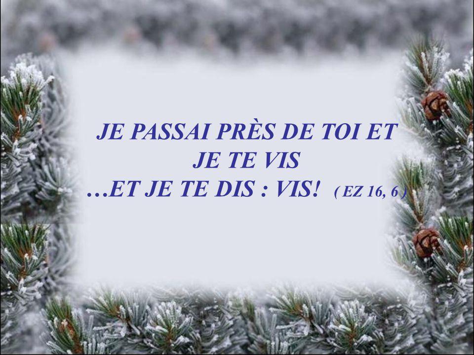 JE PASSAI PRÈS DE TOI ET JE TE VIS …ET JE TE DIS : VIS! ( EZ 16, 6 )