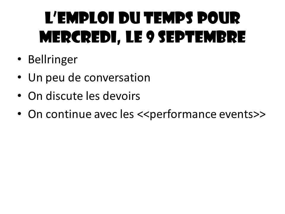 Lemploi du temps pour mercredi, le 9 septembre Bellringer Un peu de conversation On discute les devoirs On continue avec les >