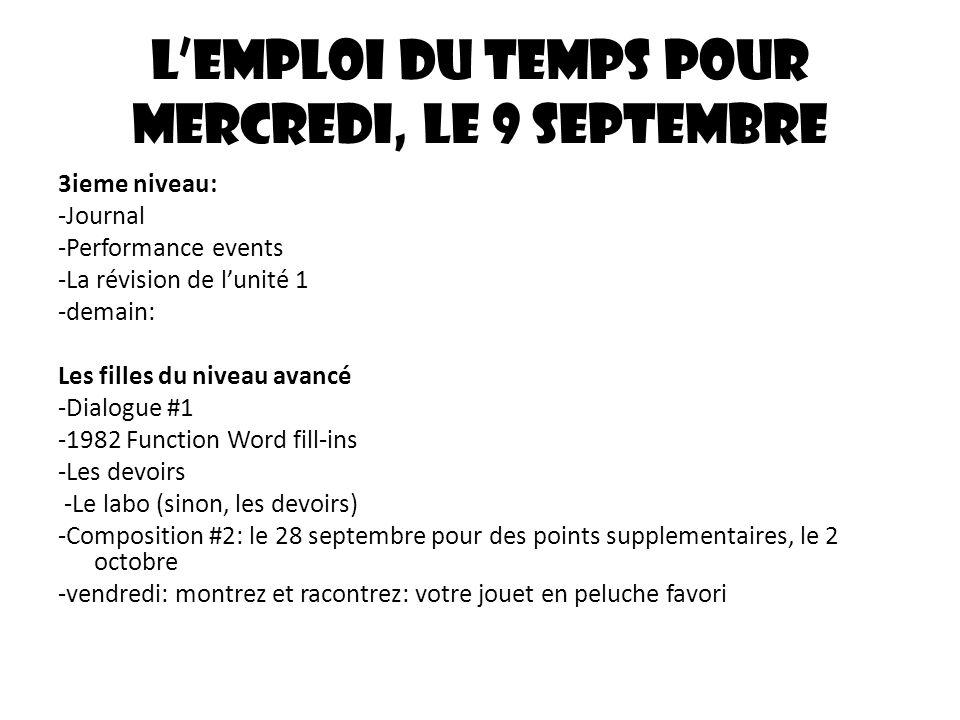 Lemploi du temps pour mercredi, le 9 septembre 3ieme niveau: -Journal -Performance events -La révision de lunité 1 -demain: Les filles du niveau avanc