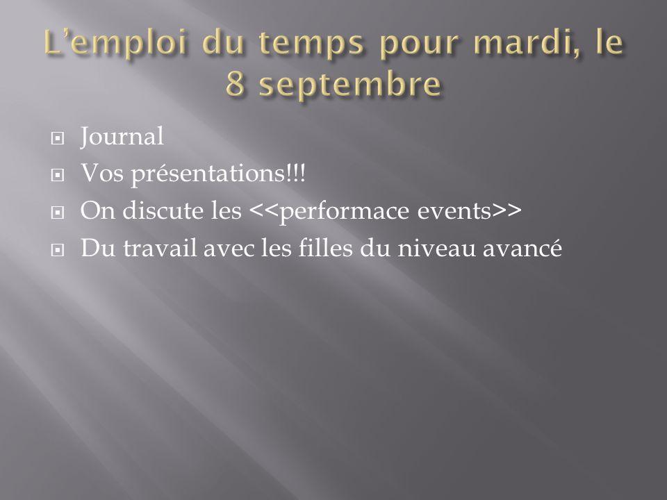 Journal Vos présentations!!! On discute les > Du travail avec les filles du niveau avancé
