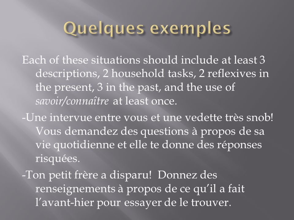 Each of these situations should include at least 3 descriptions, 2 household tasks, 2 reflexives in the present, 3 in the past, and the use of savoir/connaître at least once.