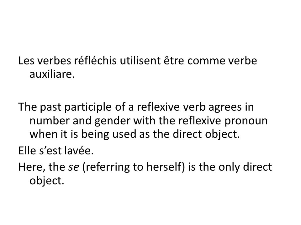 Les verbes réfléchis utilisent être comme verbe auxiliare. The past participle of a reflexive verb agrees in number and gender with the reflexive pron
