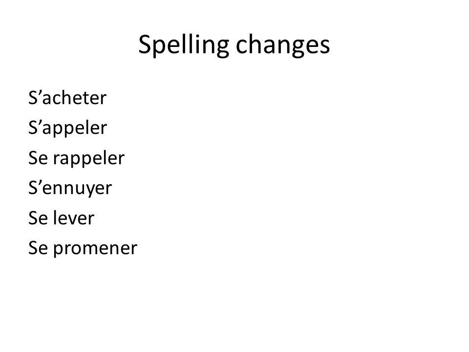 Spelling changes Sacheter Sappeler Se rappeler Sennuyer Se lever Se promener