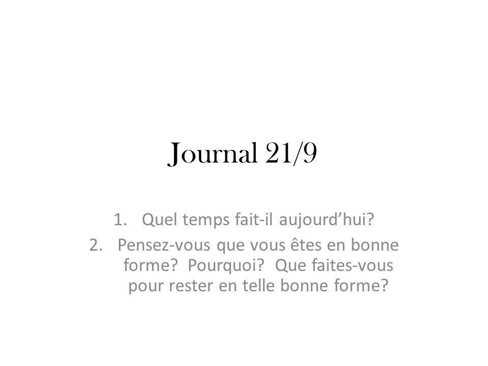 Journal 21/9 1.Quel temps fait-il aujourdhui. 2.Pensez-vous que vous êtes en bonne forme.