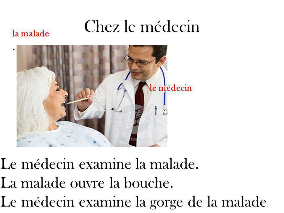 Chez le médecin Le médecin examine la malade. La malade ouvre la bouche.