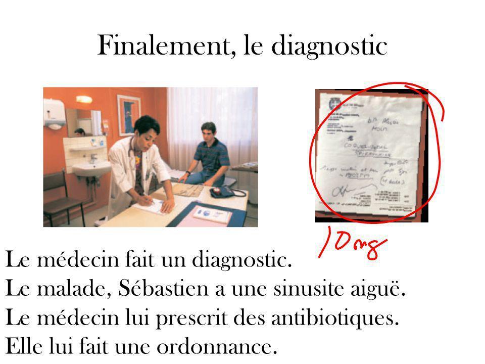 Finalement, le diagnostic Le médecin fait un diagnostic.