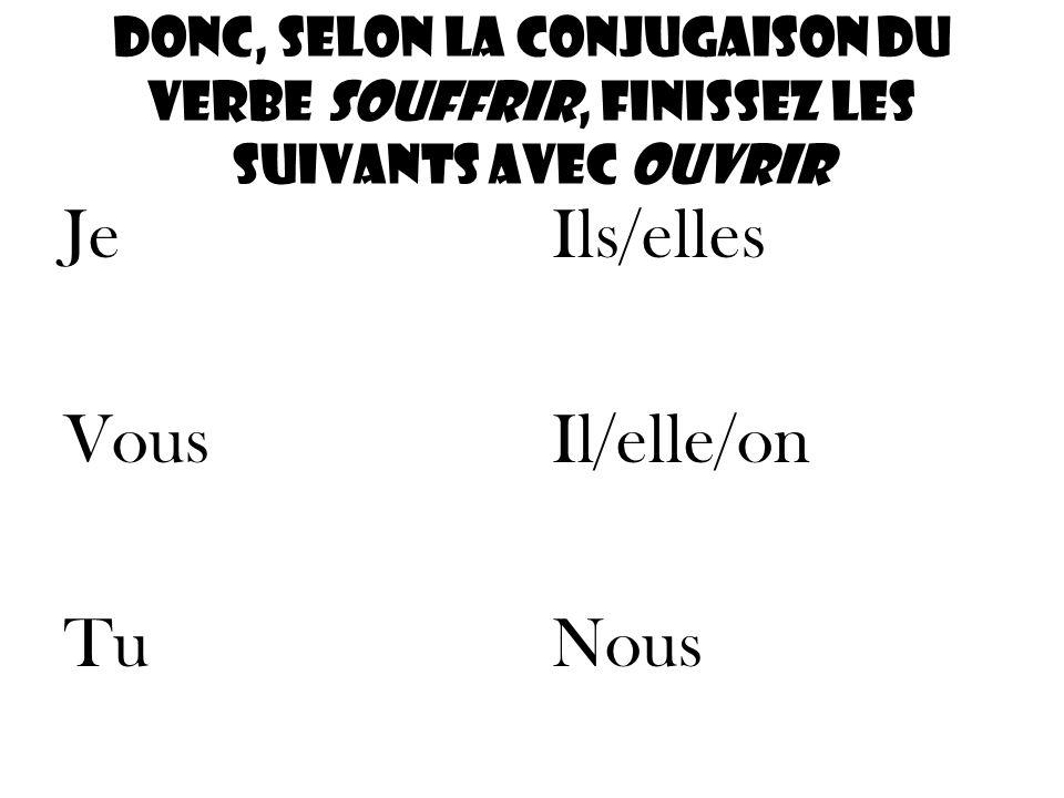 Donc, selon la conjugaison du verbe souffrir, finissez les suivants avec ouvrir Je Vous Tu Ils/elles Il/elle/on Nous