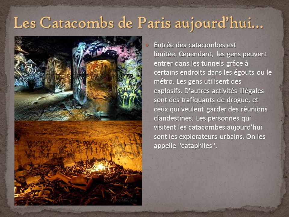 Entrée des catacombes est limitée. Cependant, les gens peuvent entrer dans les tunnels grâce à certains endroits dans les égouts ou le métro. Les gens