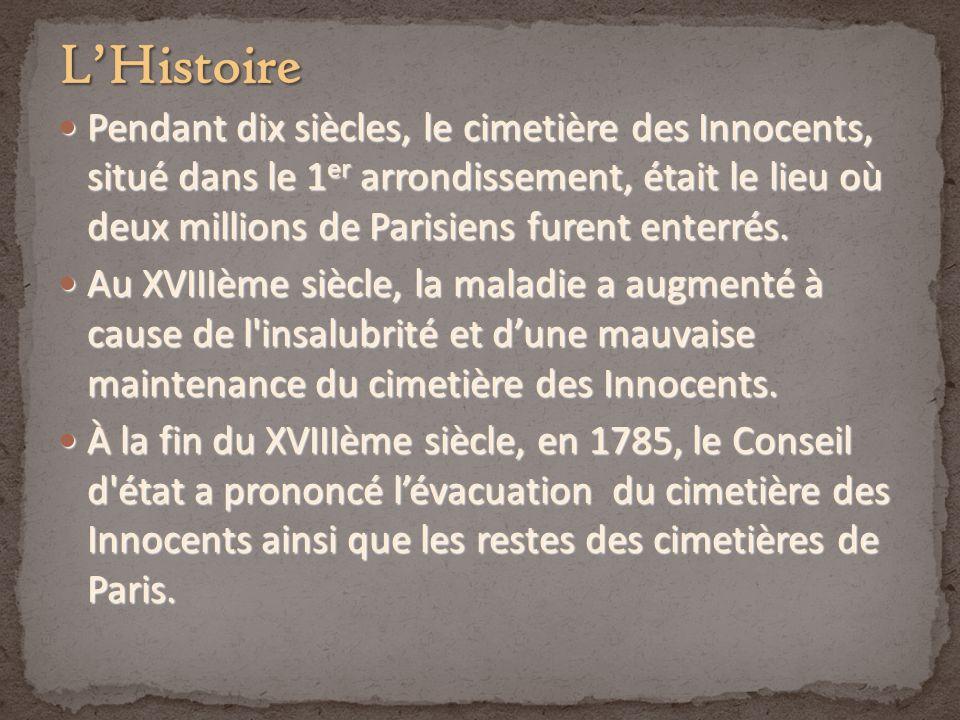 Pendant dix siècles, le cimetière des Innocents, situé dans le 1 er arrondissement, était le lieu où deux millions de Parisiens furent enterrés. Penda