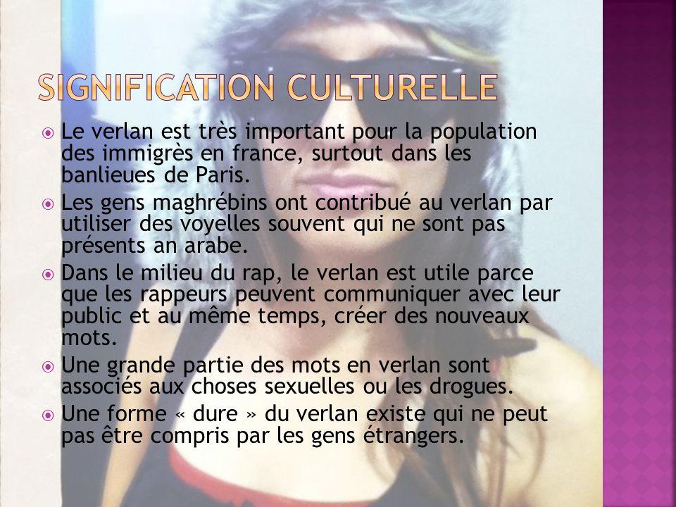Le verlan est très important pour la population des immigrès en france, surtout dans les banlieues de Paris.