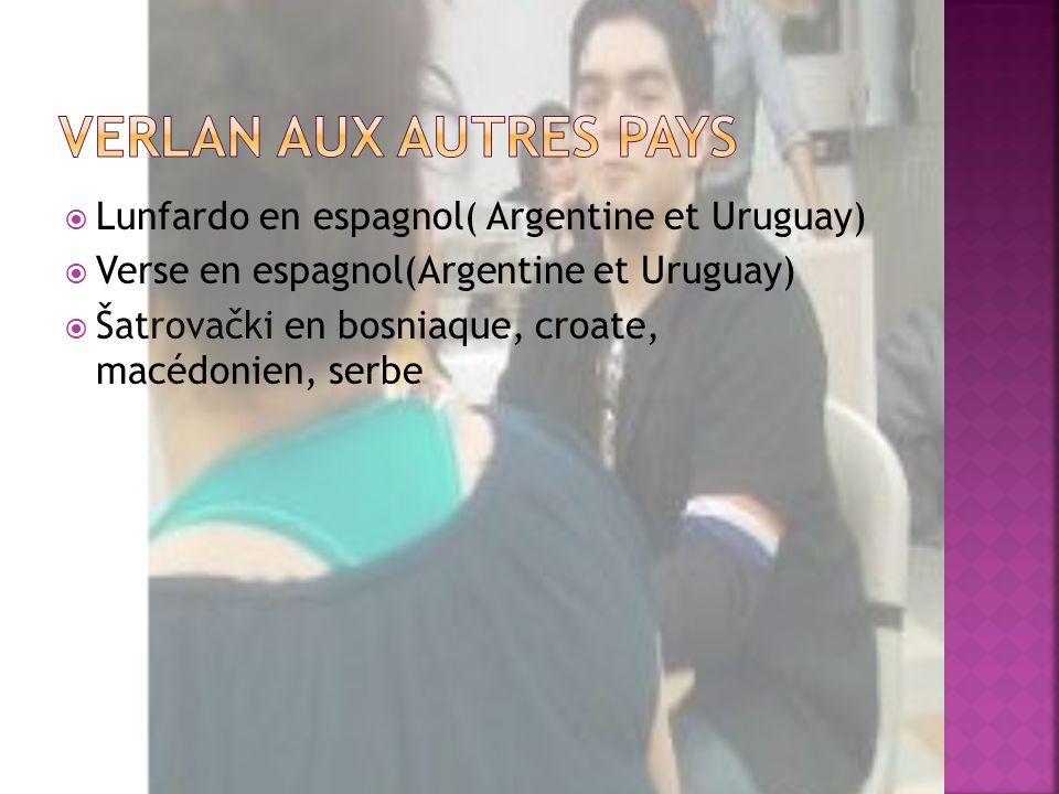 Lunfardo en espagnol( Argentine et Uruguay) Verse en espagnol(Argentine et Uruguay) Šatrovački en bosniaque, croate, macédonien, serbe