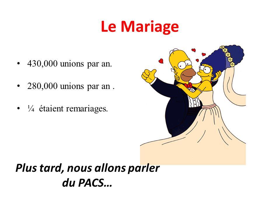 430,000 unions par an. 280,000 unions par an. ¼ étaient remariages. Le Mariage Plus tard, nous allons parler du PACS…