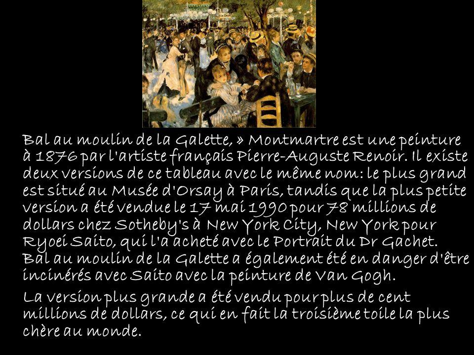 Bal au moulin de la Galette, » Montmartre est une peinture à 1876 par l'artiste français Pierre-Auguste Renoir. Il existe deux versions de ce tableau