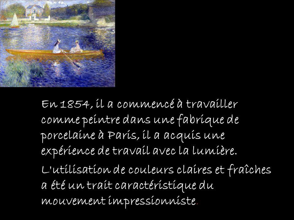 En 1854, il a commencé à travailler comme peintre dans une fabrique de porcelaine à Paris, il a acquis une expérience de travail avec la lumière. L'ut