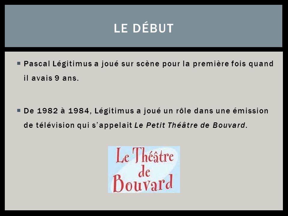 Pascal Légitimus a joué sur scène pour la première fois quand il avais 9 ans. De 1982 à 1984, Légitimus a joué un rôle dans une émission de télévision