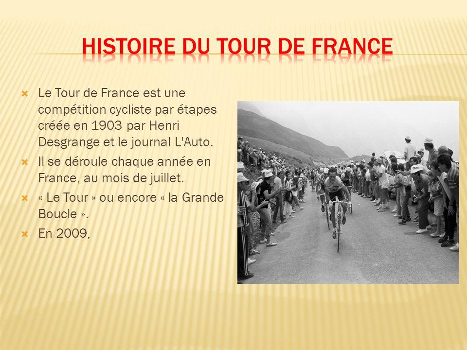 Le Tour de France est une compétition cycliste par étapes créée en 1903 par Henri Desgrange et le journal L Auto.