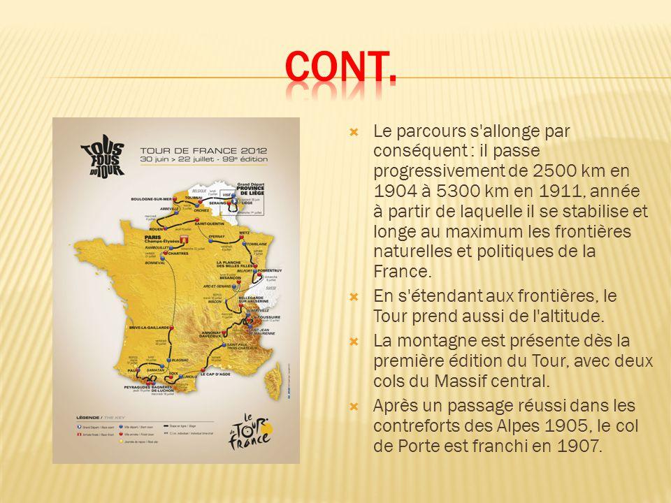 Le parcours s allonge par conséquent : il passe progressivement de 2500 km en 1904 à 5300 km en 1911, année à partir de laquelle il se stabilise et longe au maximum les frontières naturelles et politiques de la France.