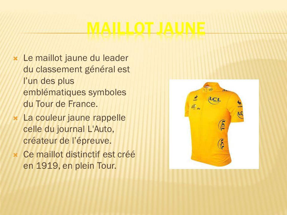 Le maillot jaune du leader du classement général est lun des plus emblématiques symboles du Tour de France.