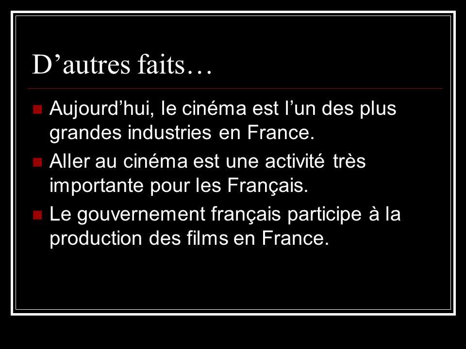 Dautres faits… Aujourdhui, le cinéma est lun des plus grandes industries en France. Aller au cinéma est une activité très importante pour les Français