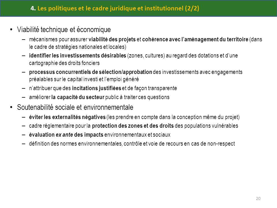 4. Les politiques et le cadre juridique et institutionnel (2/2) Viabilité technique et économique – mécanismes pour assurer viabilité des projets et c