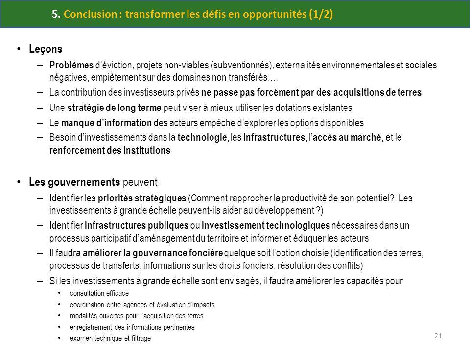 5. Conclusion : transformer les défis en opportunités (1/2) Leçons – Problèmes déviction, projets non-viables (subventionnés), externalités environnem
