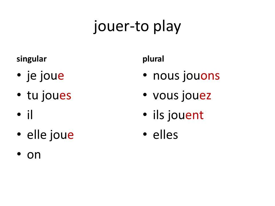 jouer-to play singular je joue tu joues il elle joue on plural nous jouons vous jouez ils jouent elles