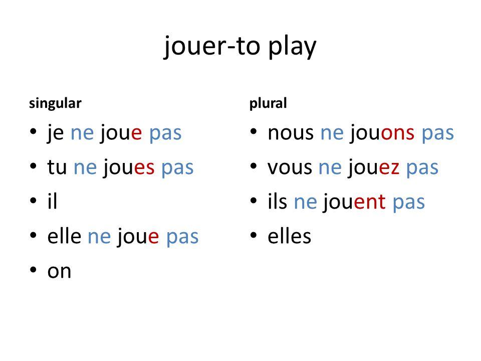jouer-to play singular je ne joue pas tu ne joues pas il elle ne joue pas on plural nous ne jouons pas vous ne jouez pas ils ne jouent pas elles