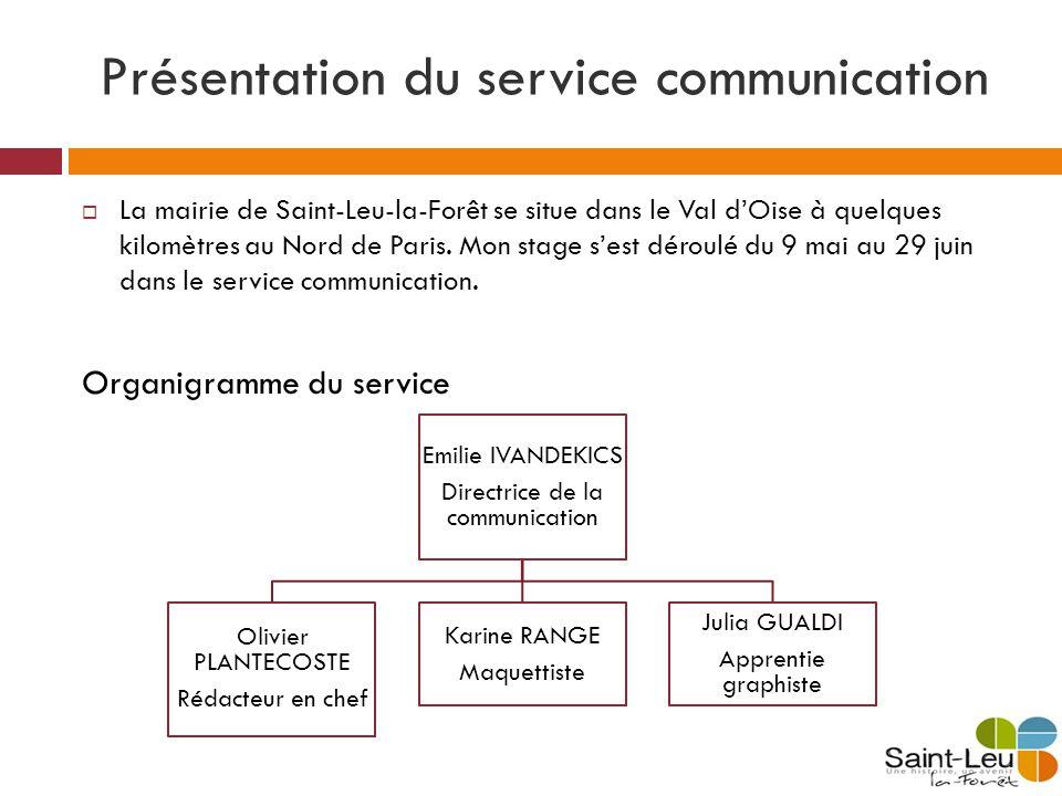 Présentation du service communication La mairie de Saint-Leu-la-Forêt se situe dans le Val dOise à quelques kilomètres au Nord de Paris. Mon stage ses