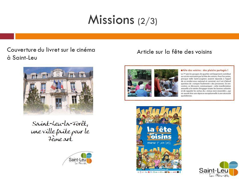 Missions (2/3) Article sur la fête des voisins Couverture du livret sur le cinéma à Saint-Leu