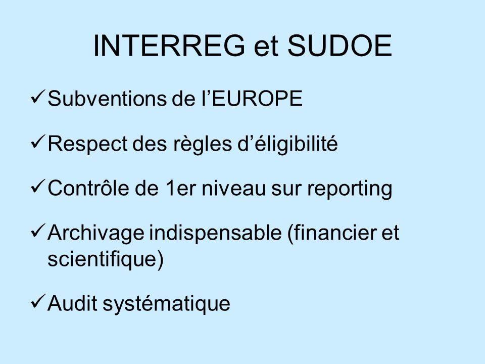 INTERREG et SUDOE Subventions de lEUROPE Respect des règles déligibilité Contrôle de 1er niveau sur reporting Archivage indispensable (financier et scientifique) Audit systématique