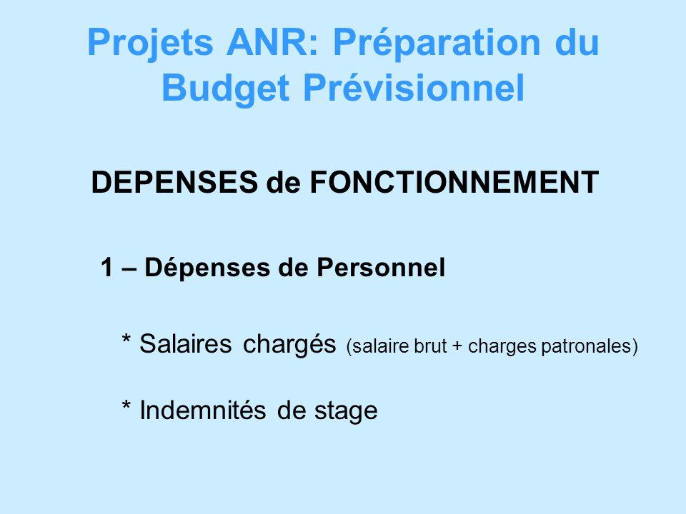 Projets ANR: Préparation du Budget Prévisionnel DEPENSES de FONCTIONNEMENT 1 – Dépenses de Personnel * Salaires chargés (salaire brut + charges patronales) * Indemnités de stage