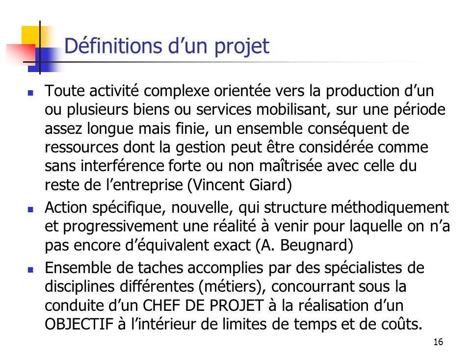 16 Définitions dun projet Toute activité complexe orientée vers la production dun ou plusieurs biens ou services mobilisant, sur une période assez lon