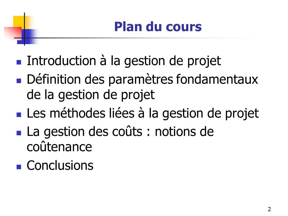 2 Plan du cours Introduction à la gestion de projet Définition des paramètres fondamentaux de la gestion de projet Les méthodes liées à la gestion de