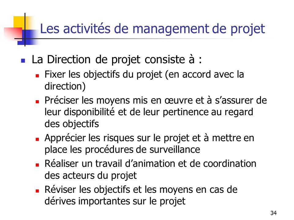 34 Les activités de management de projet La Direction de projet consiste à : Fixer les objectifs du projet (en accord avec la direction) Préciser les