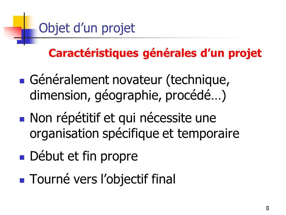 8 Objet dun projet Généralement novateur (technique, dimension, géographie, procédé…) Non répétitif et qui nécessite une organisation spécifique et te
