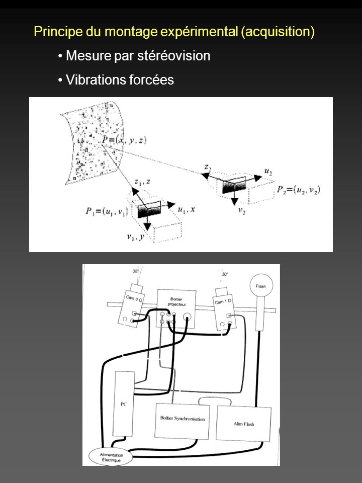 Principe du montage expérimental (acquisition) Mesure par stéréovision Vibrations forcées