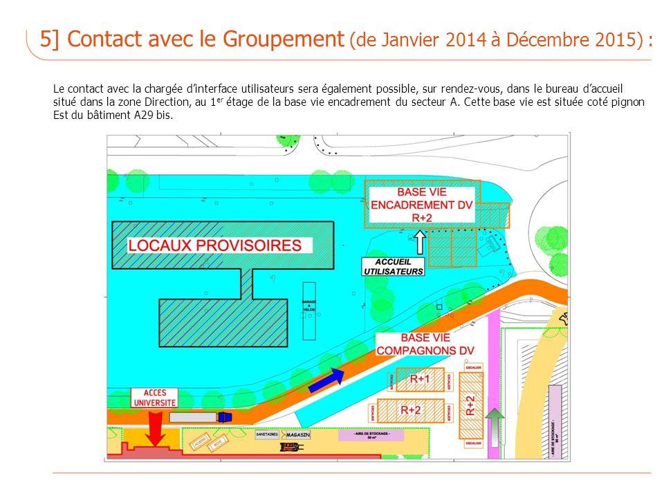 Le contact avec la chargée dinterface utilisateurs sera également possible, sur rendez-vous, dans le bureau daccueil situé dans la zone Direction, au 1 er étage de la base vie encadrement du secteur A.