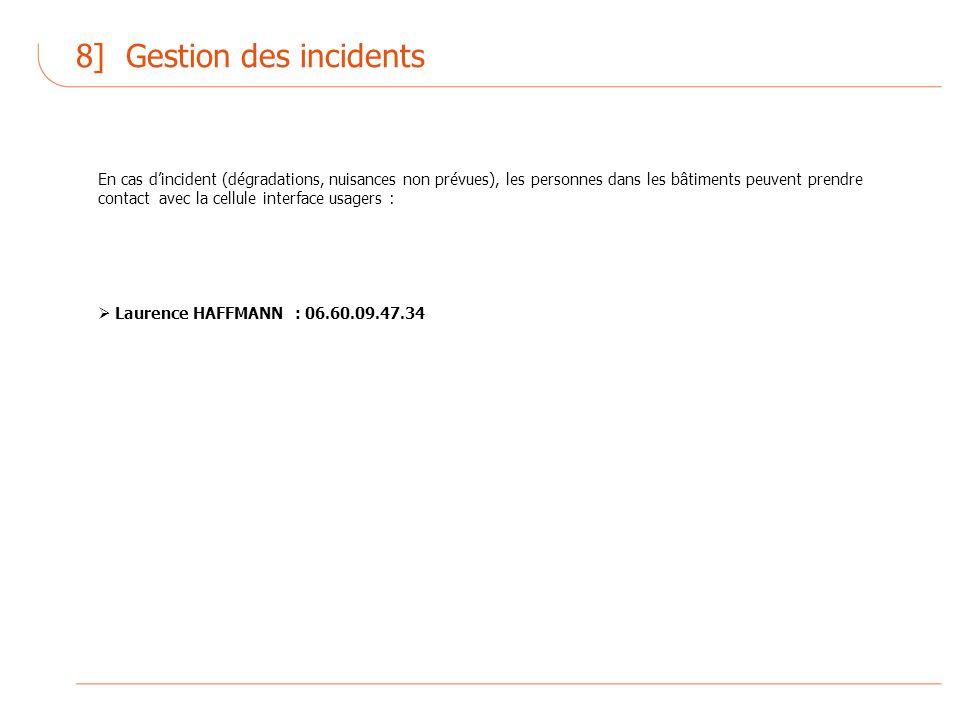 8] Gestion des incidents En cas dincident (dégradations, nuisances non prévues), les personnes dans les bâtiments peuvent prendre contact avec la cellule interface usagers : Laurence HAFFMANN : 06.60.09.47.34
