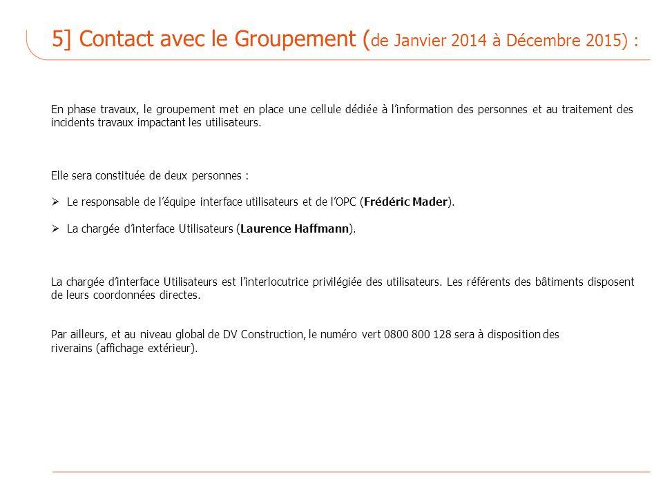 5] Contact avec le Groupement ( de Janvier 2014 à Décembre 2015) : En phase travaux, le groupement met en place une cellule dédiée à linformation des personnes et au traitement des incidents travaux impactant les utilisateurs.
