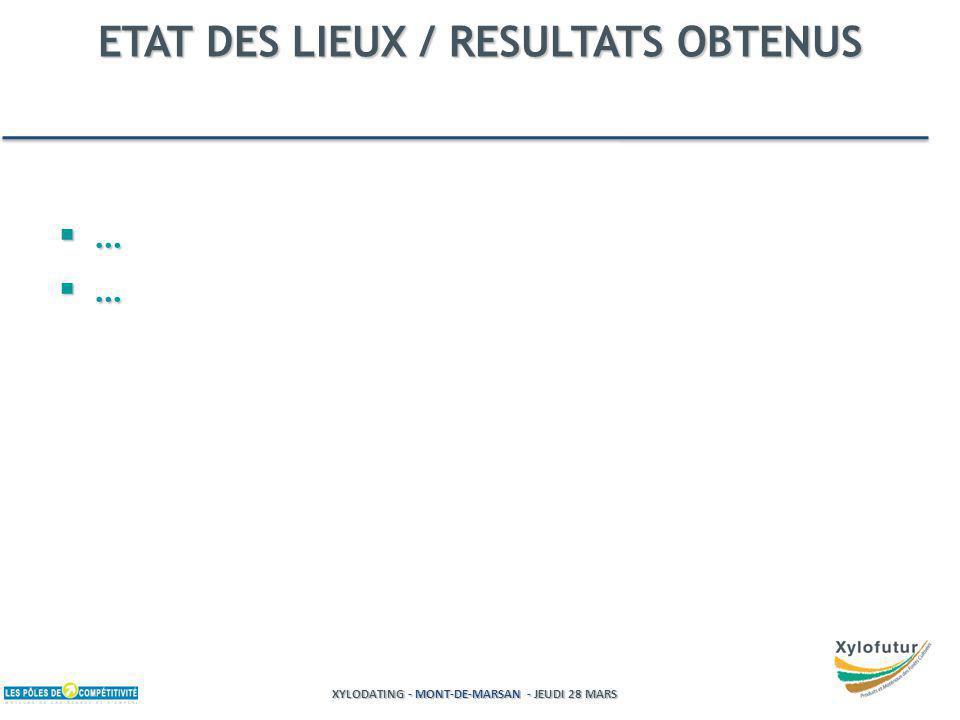XYLODATING - MONT-DE-MARSAN - JEUDI 28 MARS ETAT DES LIEUX / RESULTATS OBTENUS … …
