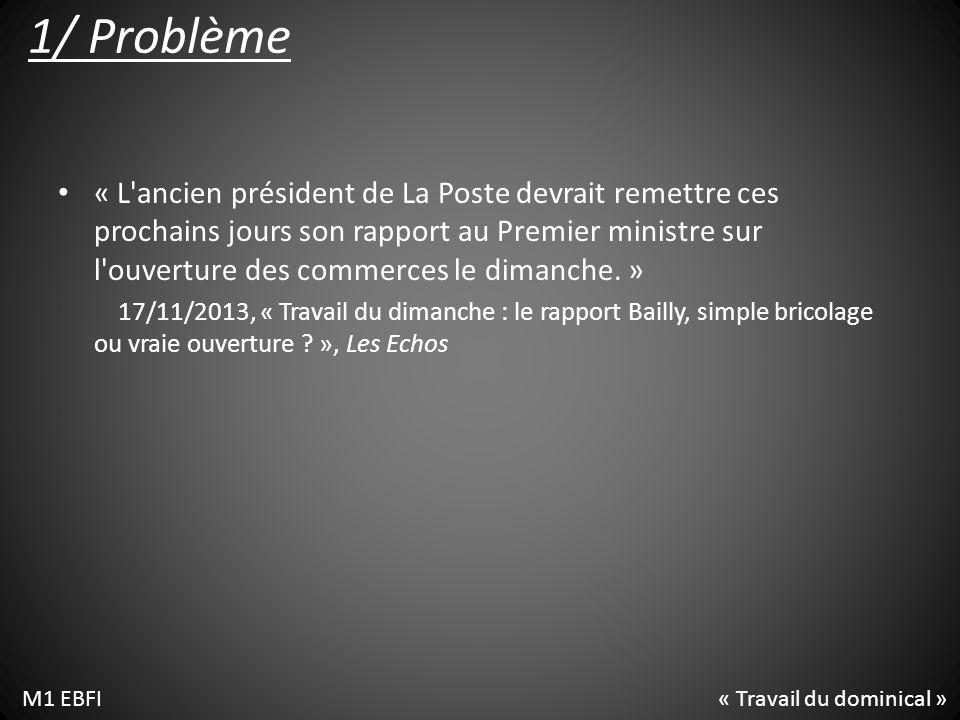 1/ Problème « L ancien président de La Poste devrait remettre ces prochains jours son rapport au Premier ministre sur l ouverture des commerces le dimanche.