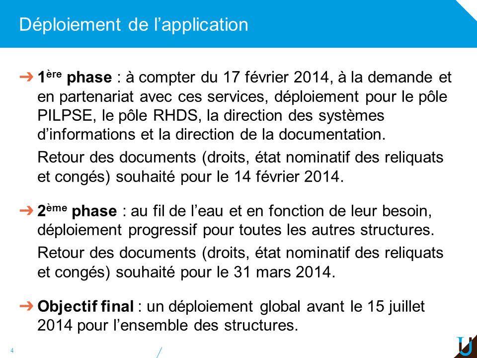 Déploiement de lapplication 1 ère phase : à compter du 17 février 2014, à la demande et en partenariat avec ces services, déploiement pour le pôle PIL