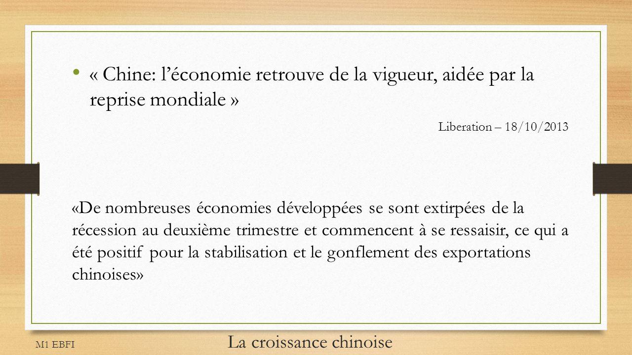 M1 EBFI La croissance chinoise « Chine: léconomie retrouve de la vigueur, aidée par la reprise mondiale » Liberation – 18/10/2013 «De nombreuses écono