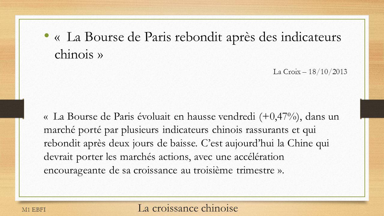 M1 EBFI La croissance chinoise « La Bourse de Paris rebondit après des indicateurs chinois » La Croix – 18/10/2013 « La Bourse de Paris évoluait en ha