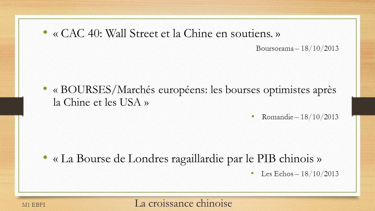 M1 EBFI La croissance chinoise « CAC 40: Wall Street et la Chine en soutiens. » Boursorama – 18/10/2013 « BOURSES/Marchés européens: les bourses optim