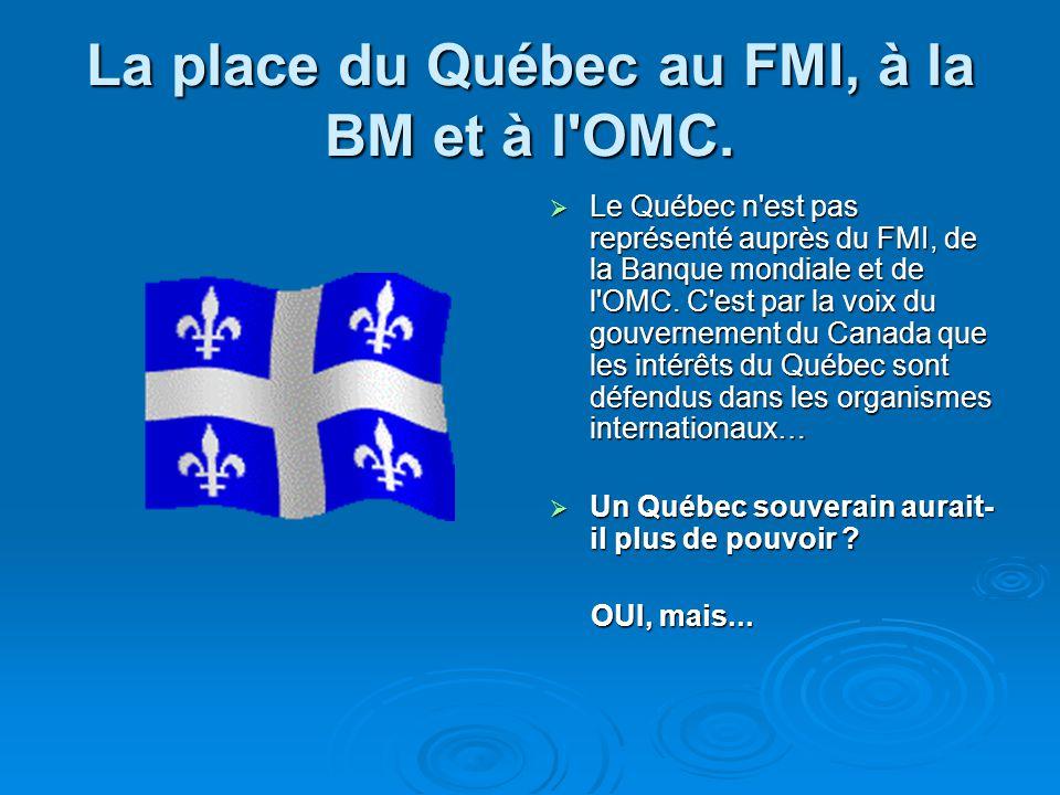 La place du Québec au FMI, à la BM et à l'OMC. Le Québec n'est pas représenté auprès du FMI, de la Banque mondiale et de l'OMC. C'est par la voix du g