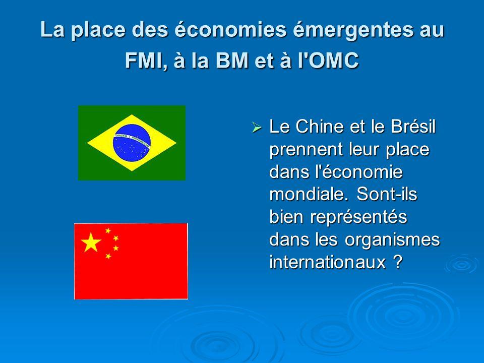La place des économies émergentes au FMI, à la BM et à l'OMC Le Chine et le Brésil prennent leur place dans l'économie mondiale. Sont-ils bien représe
